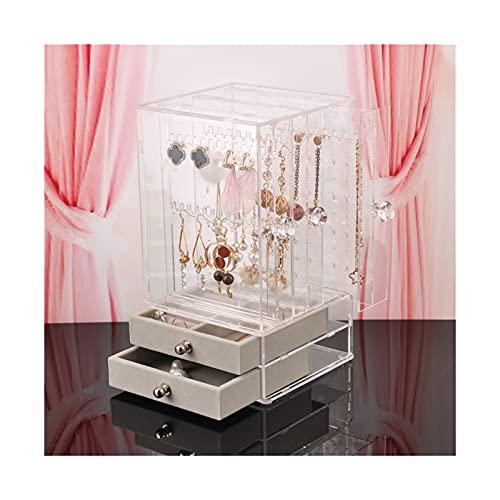 SONG Caja de joyería Pendientes Caja de Almacenamiento Organizador Joyas Cajón Pantalla Rack Organizador Collar Joyería Reloj Mueble Plástico (Color : Clear)