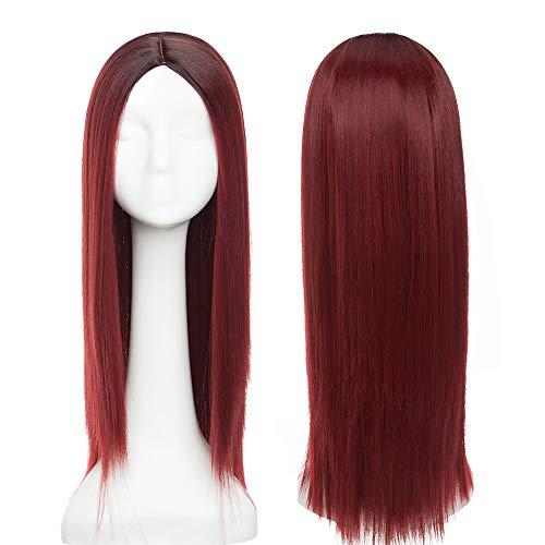 24'(60cm) SEGO Pelucas Castaas/Rojas Mujer Largas Lisas Pelo Sinttico Se Ve Natural Anime Disfraz Fiesta Cosplay Halloween Carnaval Synthetic Wig (Castao Oscuro ombre Vino Rojo)