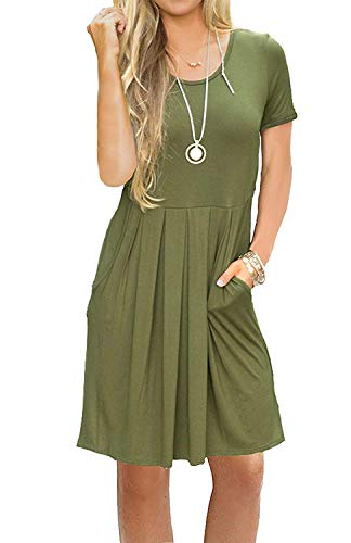 AUSELILY Women's Solid Plain Short Sleeve Pleated Loose Swing Casual Dress with Pockets Olive Knee Length (M,Army Green)