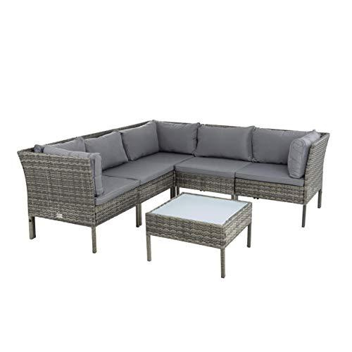 ESTEXO Polyrattan Lounge Set Rattan Gartenmöbelset Gartenset Sitzgruppe Gartenlounge Tisch Hocker Sofa Couch Essgruppe Gartenmöbel Lounge-Set (Anthrazit-Grau)