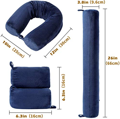 Twist Memory Foam Travel Pillow for Neck, Chin, Lumbar and Leg Support - For Traveling on Airplane, Bus,Train or at Home -Best for Side,Stomach and Back Sleepers -Adjustable,Bendable Roll Pillow,Blue