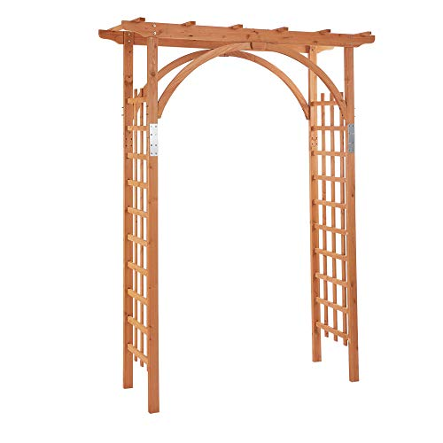 Outsunny Arco in Legno da Giardino con Pergola e Spalliera per Piante Rampicanti, Decorazioni per Matrimonio e Patio, 160x60x215cm