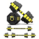 Tespon Adjustable Dumbbells Barbell 2 in 1 with Connector, Adjustable Dumbbell Barbell Sets 44lbs, Lifting Dumbells for Body Workout Home Gym,One Pair(2020 Upgrade)