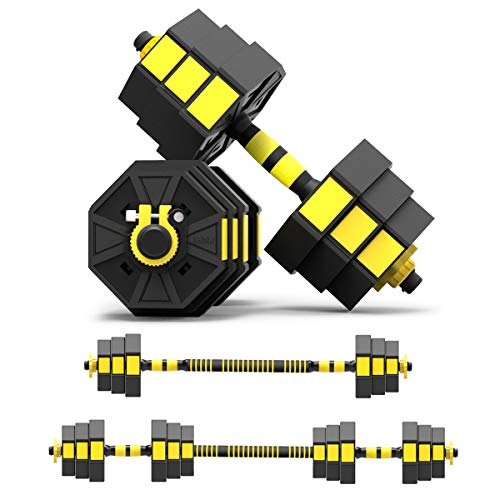 Mikolo Adjustable Dumbbells Barbell 2 in 1 with Connector, Adjustable Dumbbell Barbell Sets 44lbs, All-Purpose, Home, Gym Equipment, and Office
