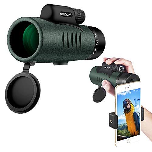K&F Concept Monokular Teleskop wasserdicht 12x50 HD Handy Fernrohr mit Telefonklammer