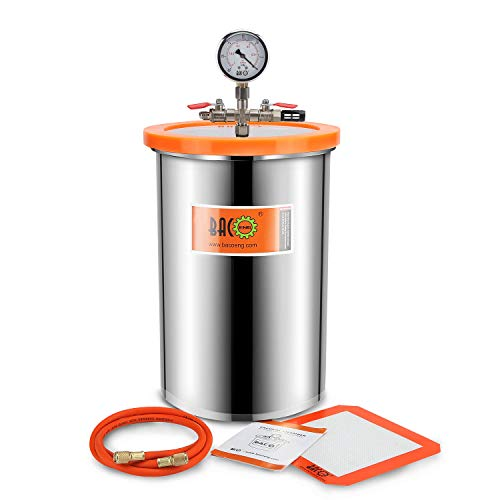 BACOENG 19 Liter Vakuumkammer Edelstahl Vakuum Entgasungskammer (Durchmesser 38CM, Höhe 25CM)