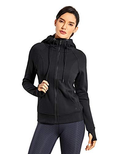 CRZ YOGA Women's Cotton Hoodies Sport Workout Full Zip Hooded Jackets Sweatshirt Black Large