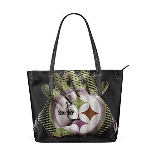 NR Multicolour Fashion Damen Handtaschen Schulterbeutel Umhängetaschen Damentaschen,Cyan-blaue Steeler Rugby-Handschuhe des Druck-3D Grey Smoke Black Background