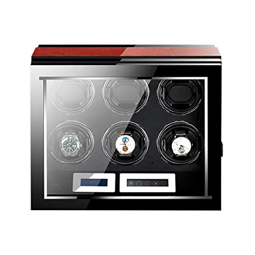 Enrollador automático de Reloj Acabado en Madera con Almohadillas Ajustables [mejoradas] para el Reloj Pantalla táctil Digital LCD 6 Espacios sinuosos Enrolladores de Reloj Caja Iluminación incorpor