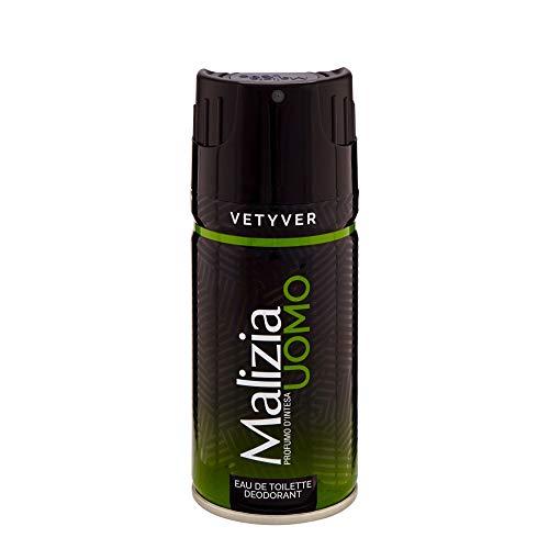 6x MALIZIA UOMO VETYVER deo spray deodorant vetiver Edt eau de toilette 150ml
