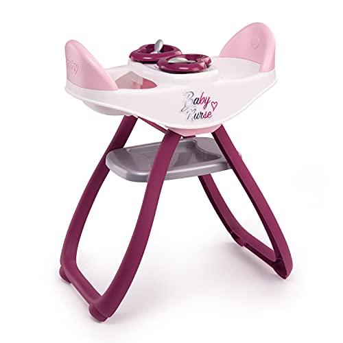 Smoby - Baby Nurse - Chaise Haute Jumeaux - Pour Poupons et Poupées - Transformable en Bascule - 4 Accessoires Inclus - 220344
