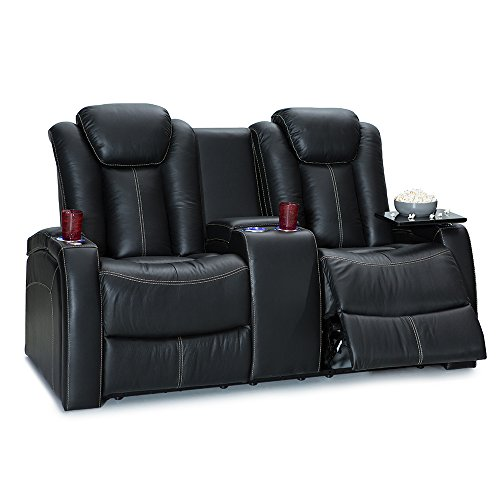 Seatcraft Republic Home Theater Seating Leather Sofa Loveseat with Power Recline, Adjustable Powered Headrest, Center Storage Console, and Cup Holders, Black
