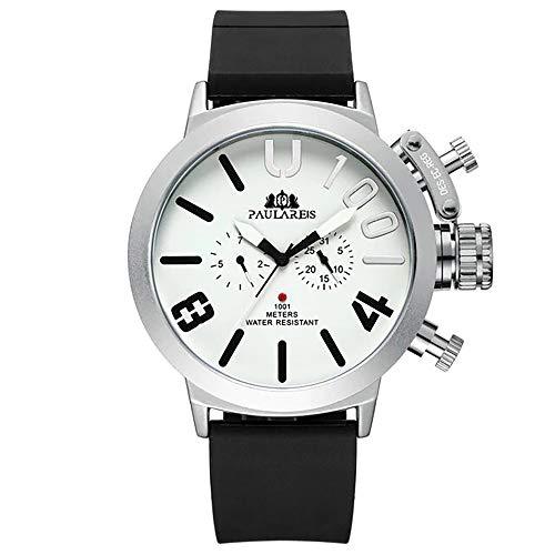 Orologio automatico moderno grande quadrante con cinturino in gomma e ultra confortevole per uomo elegante XXL argento