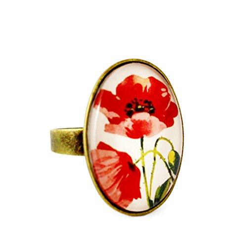 Miss Lovie Ring Damen Mohnblume Blüte Natur Statement Für Mütter Freundin Mädchen Modeschmuck Schmuck Vintage Verstellbar Rot - 25x18mm Cabochon Bronze