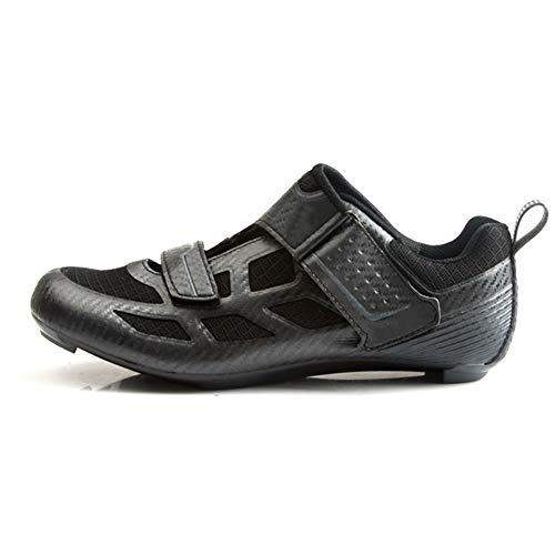 BHC Carretera Zapatillas de Ciclismo,Carretera Zapatillas de Ciclismo con Suela de Caucho y Triple Tira de Velcro Unisex,Black Gray,47