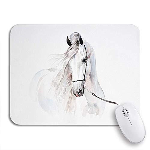 Gaming mouse pad hengst aquarell gemälde von andalusischen pferd porträt schöne weiße rutschfeste gummi backing mousepad für notebooks computer maus matten