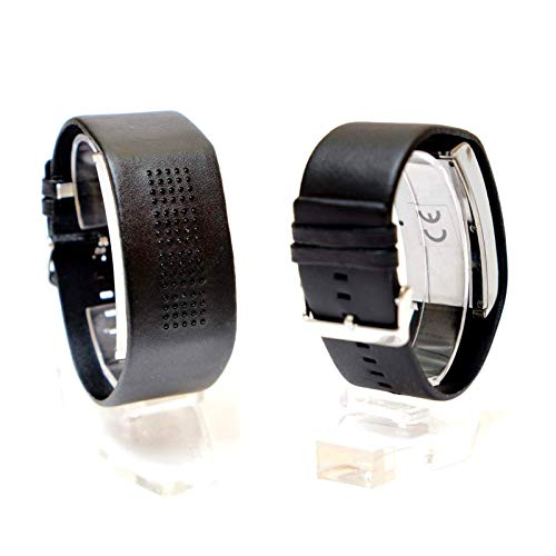 Binäruhr Herrenuhr Schwarz Binäre Armbanduhr Herren Kunstleder Armband Uhr Digital Binär Anzeige Silikonarmband