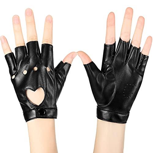 Punk Gürtel Halb Handschuhe Frauen Punk Halb Finger Handschuhe Gürtel Halb Finger PU Leder Performance Handschuhe Aushöhlen Fingerlose Handschuhe, Schwarz