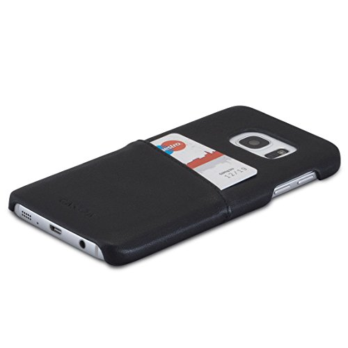CASEZA Galaxy S7 Funda Piel PU Hamburg Negra - Case Cover Carcasa Tapa Trasera Piel Vegana Premium con Cartera para Samsung Galaxy S7 Original - Ultrafina con Bolsillo Tarjetero