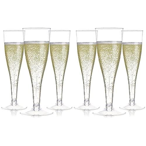 Unknows - Copa desechable, 6 copas de champán de plástico desechables para tostar, para boda, baby shower