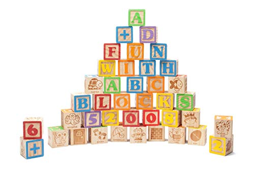 40 Large Jumbo ABC Blocks for Babies, Toddlers, Kids, Baby Shower, Decorations. Beautiful Wooden Set of Engraved Alphabet Letters & Numbers Perfect for Early Development. Safe for kids 18 month & Up