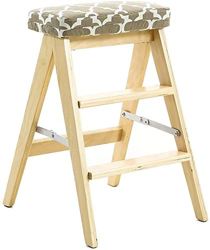 DQSM Multifuncional Escalera de Tijera Escalera de Madera de 3 Pasos Plegable-Cocina...