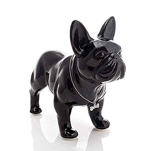 amazyn Decoration Crafts - Cute Ceramic French Bulldog Dog Statue Home Decor Crafts Room Decoration Dog Ornament Porcelain Animal Figurines Decorations@35x15x29cm_White