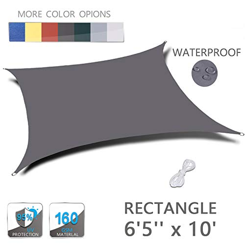 LOVE STORY 6'5'' x 10' Rectangle Dark Grey Waterproof Sun Shade Sail Perfect for Outdoor Patio Garden
