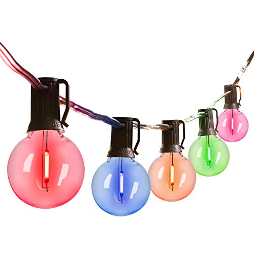 Multicolor Led G40 Outdoor String Lights 25Feet Patio Lights with 25 Led Shatterproof Bulbs, Weatherproof Commercial Hanging Lights for Backyard Bistro Pergola Party Decor, E12 Socket Base