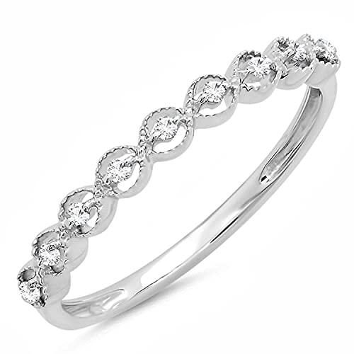 DazzlingRock Collection 0,10Quilates (de quilate) Plata de Ley Redondo Blanco Diamante señoras apilable Boda Banda 1/10CT