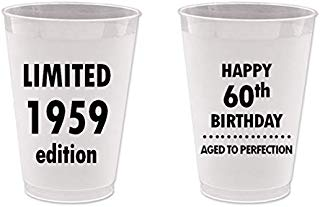 Mandeville Party Company, 10 count Frost Flex Plastic Cups, Happy 60th Birthday - Limited 1959 Edition, Aged to Perfection