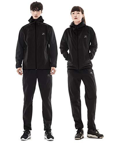 ReBorn サウナスーツ メンズ レディース 男女兼用 上下セット [ 大きいサイズ 特許技術素材 シルバーハイロン 大量発汗 おしゃれ ] M