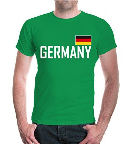 buXsbaum® Herren T-Shirt Germany   Deutschland Allemagne Alemania Europa Ländershirt Fanshirt Trikot Reise   XXL, Grün