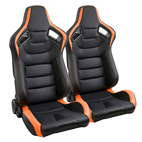 2PCS Universal PVC Leather Car Racing Seats, Reclinable Bucket Sport Seat with Two Adjustable Slider, Mounting Brackets are NOT Include (Black & Orange)
