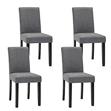 NOBPEINT Urban Style Solid Wood Fabric Padded Parson Chair, Grey, Set of 4