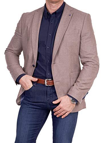 Unbekannt Herren Sakko Tweed Look Schurwolle/Polyester klassisch Reverskragen Blazer Zweiknopf Jackett Anzug Slim Fit bequem, Größe 52, beige