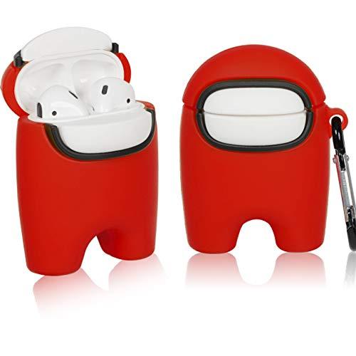 Mulafnxal für AirPods 1&2 hülle Case, Among Cute Niedliche 3D Weichem Silikon Schützende Air pods Haut, Us Stoßfeste Kopfhörer hülle, Mode Schlüsselanhänger für Airpod 2/1 (Red)
