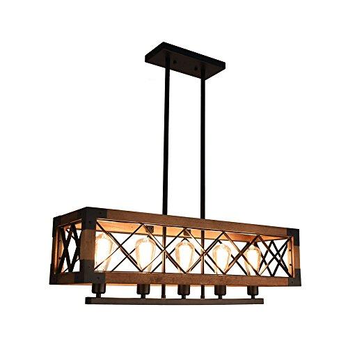 OYIPRO Holz Pendelleuchte Vintage Kronleuchter Küche Insel Lampe Industriellampe Rechteckig 5 Flammig E27 Lampenfassung für Esszimmer Restaurant Bar Theke Büro