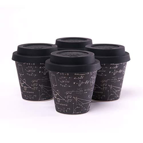 QUY CUP. Einstein Espresso-beker van bamboe, 4 stuks, 90 ml, herbruikbaar, voor op reis, exclusief Italiaans design, van natuurlijke vezels, BPA-vrij, koffie om mee te nemen