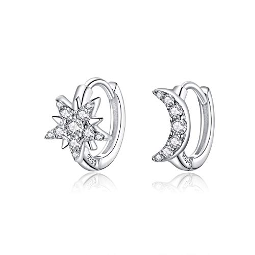 Pendientes de aro de plata para mujer Pendientes de cartílago huggie Estrella y luna Pendientes de circonita cúbica Joyas minimalistas para orejas sensibles