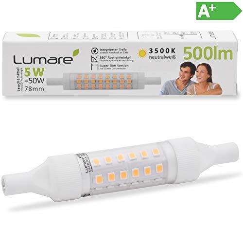 Lumare R7s LED 5W 78mm 230V Leuchtmittel Halogen Flutlicht Fassung ersetzt 50W Baustrahler Lampe Ersatz Halogenstab 3500K neutralweiß