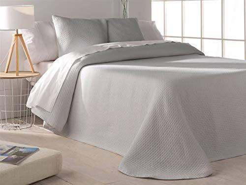 Barceló - Tagesdecke Jacquard Tarifa - Bett 90 cm - Farbe Weiß Cama 90 cm Perlgrau