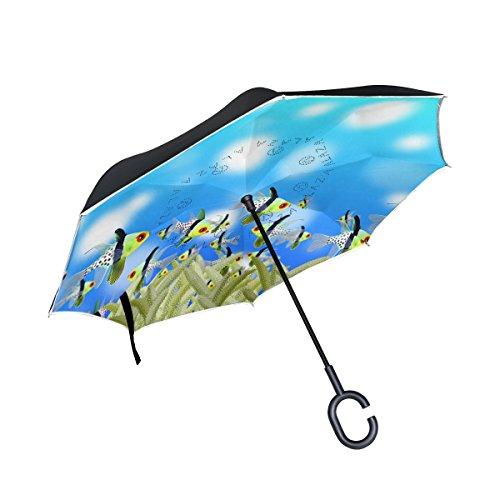 Ahomy - Paraguas invertido de Doble Capa, diseño de Peces océanos Aloe...