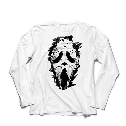 lepni.me Camiseta de Manga Larga para Hombre Grito de la Parca Tribal - Muerte Espeluznante aterradora (XXXXX-Large Blanco Multicolor)