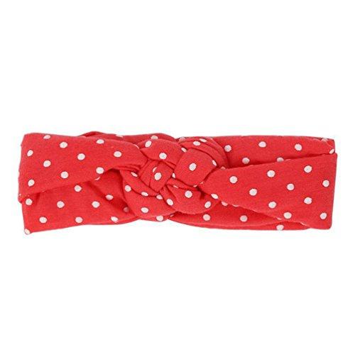 Sukisuki Polka Dot Baby Meisjes Hoofdband Strikken Elastische Doek Haarband Hoofddeksels Eén maat Watermeloen Rood