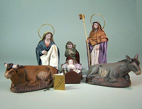 Puig Krippenfiguren aus Spanien Hl. Familie 6Tlg. Aus Ton. 12 cm.