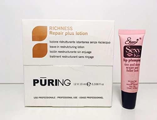 Mx Puring Richness Repair Plus Lotion (Leave in Ampoulle) 12 x 10mlFree Starry Sexy Kiss Lip Plumping 10 Ml by Maxima