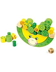 Żaba balansująca z naturalnego drewna, 100% certyfikowana przez FSC®. Zabawka motoryczna w zestawie kostka, dla dzieci od 3 lat.