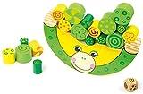 Balancierfrosch aus natürlichem Holz, 100% FSC®-zertifiziert. Motorikspielzeug inkl. Würfel, für Kinder ab 3 Jahren.