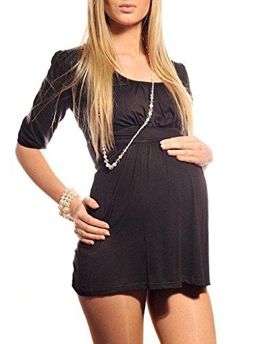 Purpless Damen Umstandstunika U-Ausschnitt Schwangerschaft Top Bluse Umstandsmode 5006 (38, Black)